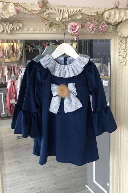 Yoedu navy fur pom pom dress