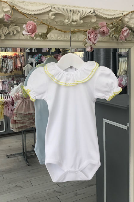 St Tropez lemon trim short sleeve frill collar vest