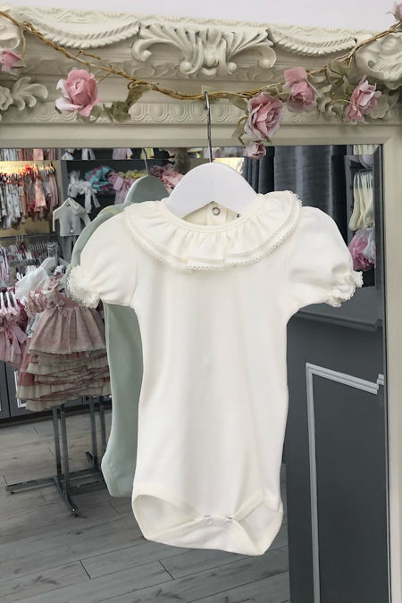 St Tropez cream short sleeve frill collar vest