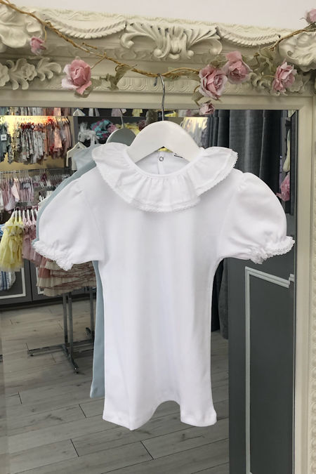 Monaco white frill collar t-shirt