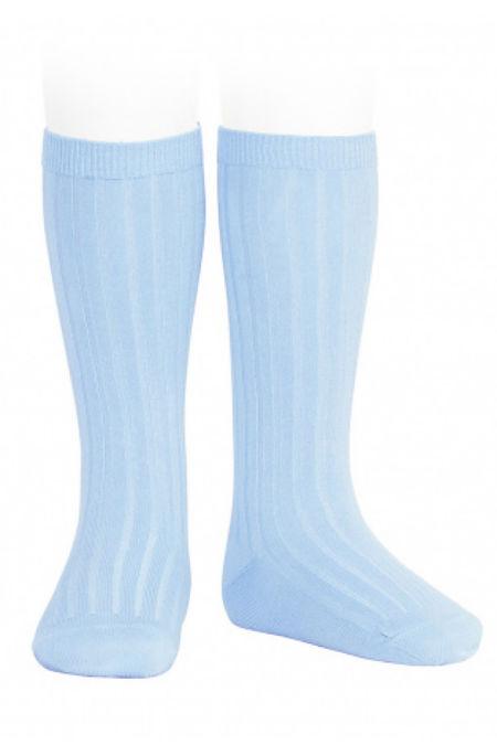 Condor baby blue ribbed knee-high socks
