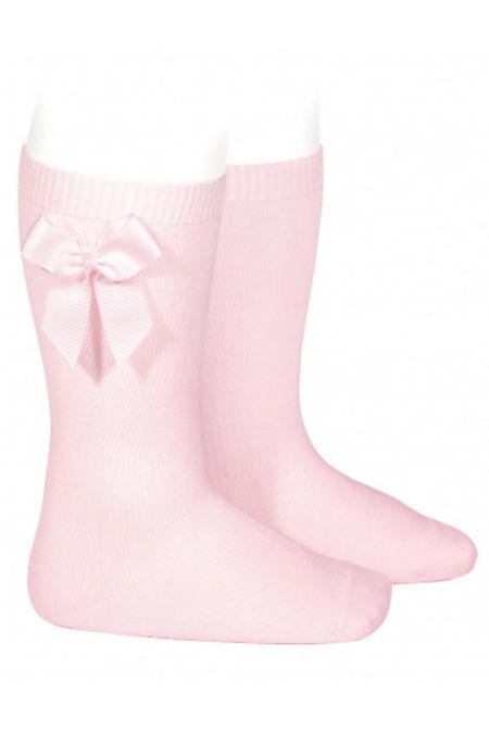 Condor baby pink bow knee-high socks