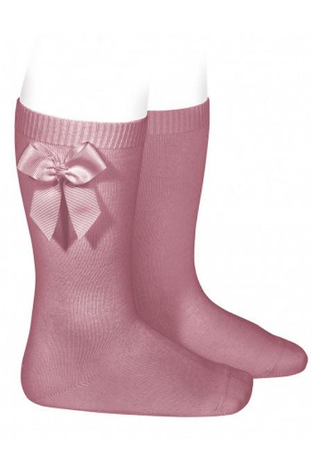 Condor dusky pink bow knee-high socks