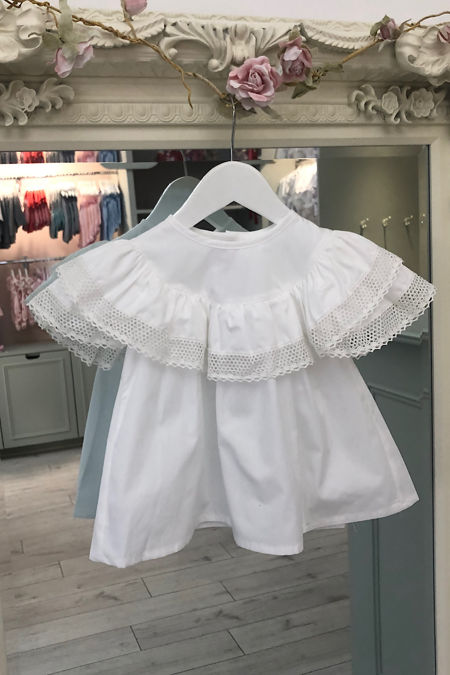 Phi white frill lace trim blouse
