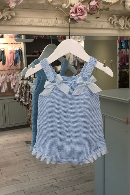 Juliana blue gingham knitted romper