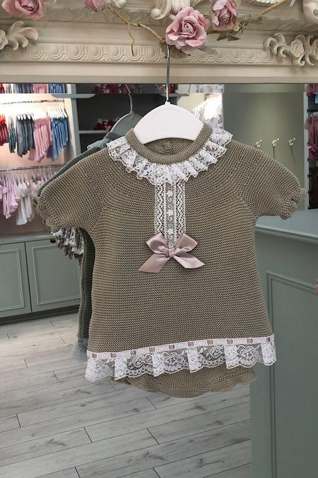 Juliana Eliza beige two piece knitted set