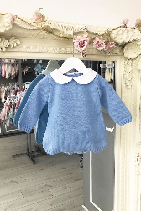 Blue collared knitted romper