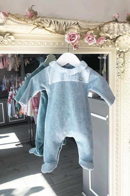 Laranjinha blue soft ribbed babygrow