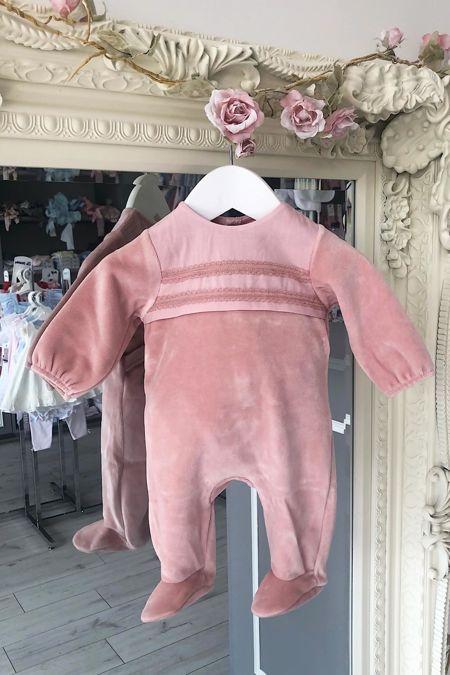 Dusky pink velour baby grow