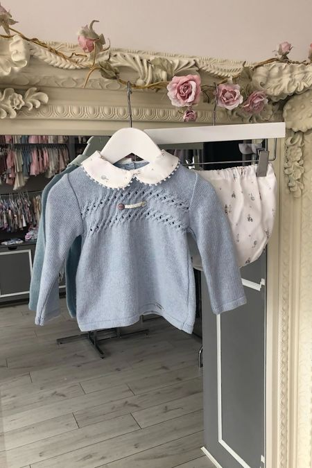 Foque boys blue knitted top and printed shorts set