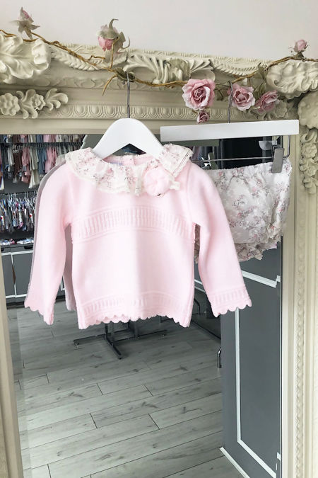 Foque baby pink floral knitted set