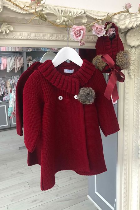Foque red knitted coat and bonnet set