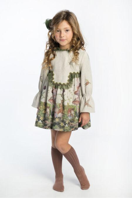 Jose Varon meadow green tulle dress