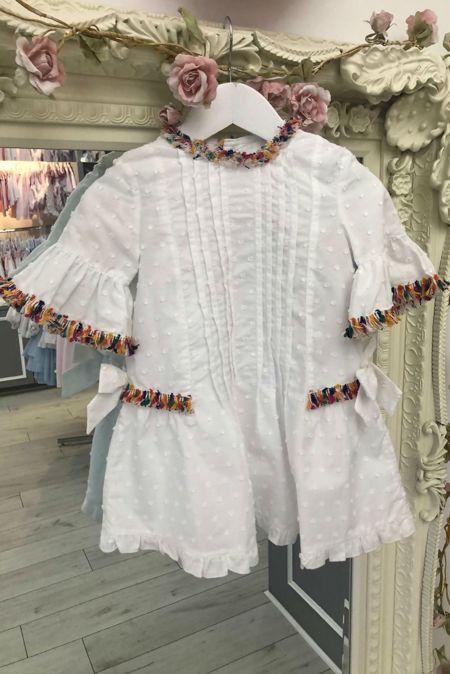 Jose Varon Rainbow Trim Dress