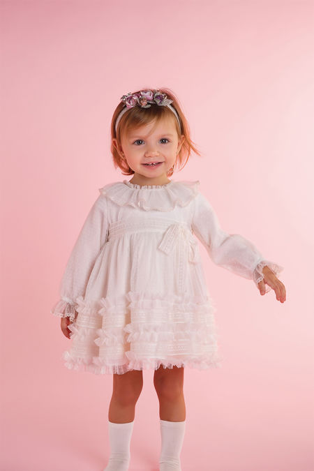 Rochy cream ruffle bow dress