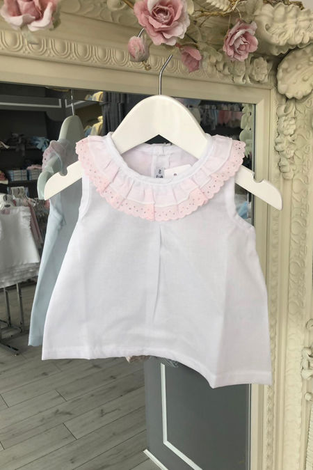 Sicily white and pink blouse