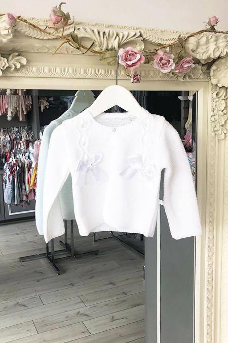 White bow cardigan