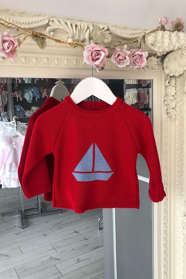 Boys red boat jumper