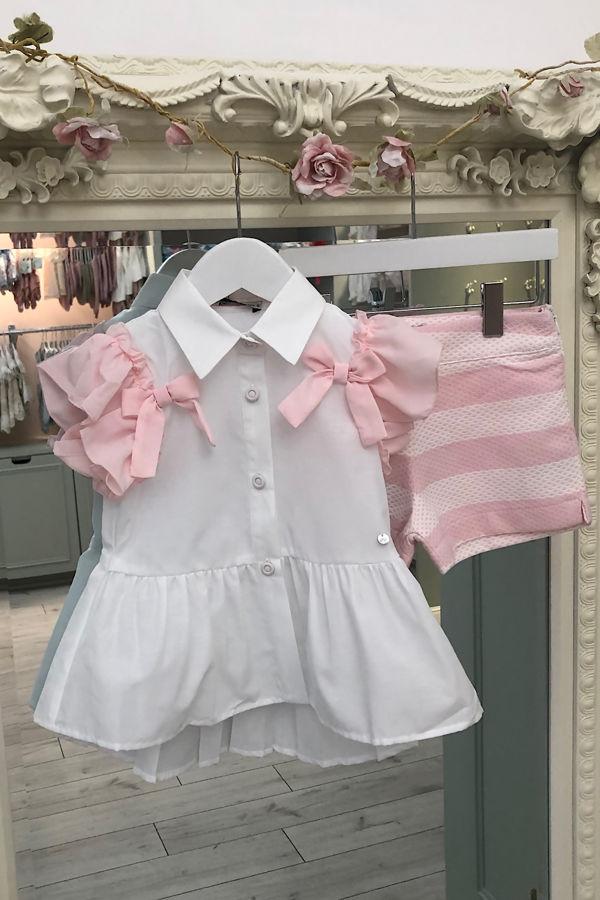 Piccola Speranza pink striped short set
