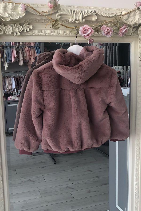 Marta y Paula dusky pink faux fur bomber jacket