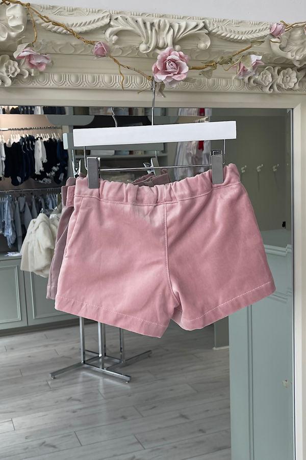 Phi dusky pink velvet bow shorts