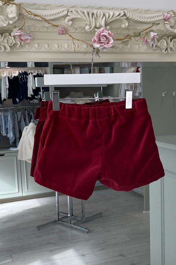 Phi red velvet bow shorts