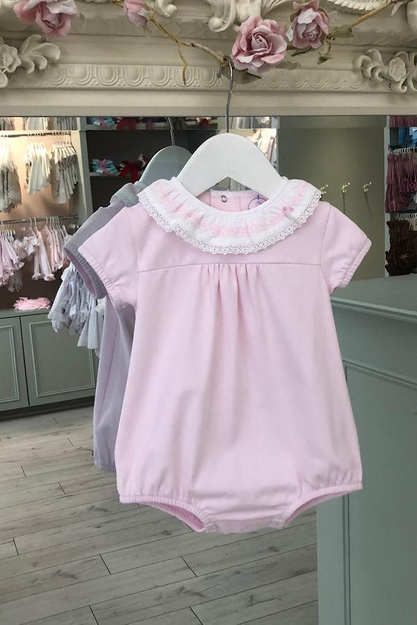 Laranjinha pink cotton romper with frill collar