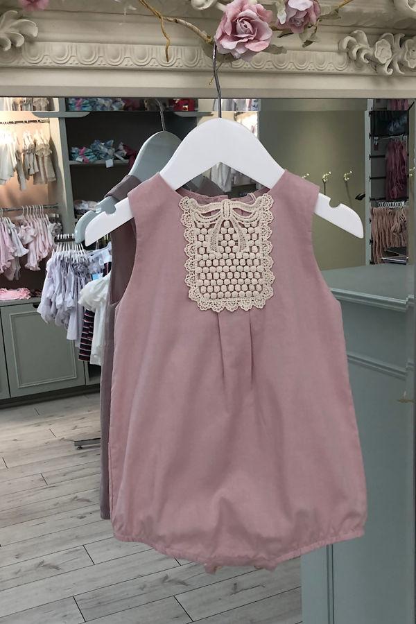 Dusky pink romper with cream crochet panel