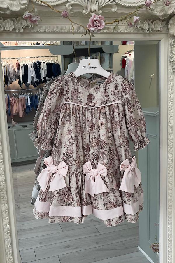 Piccola Speranza pink floral printed bow dress