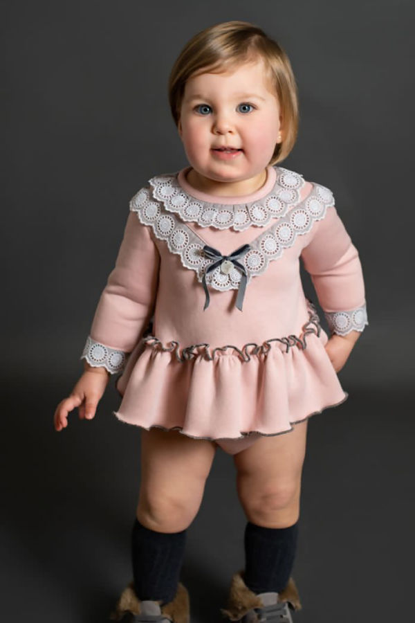Foque pink lace trim dress and knickers set