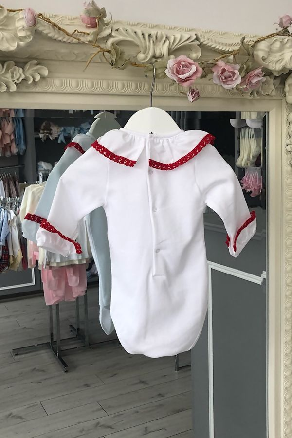 red trim frill collar cuffed vest