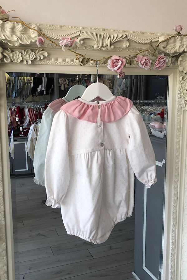 isabella pink and white romper