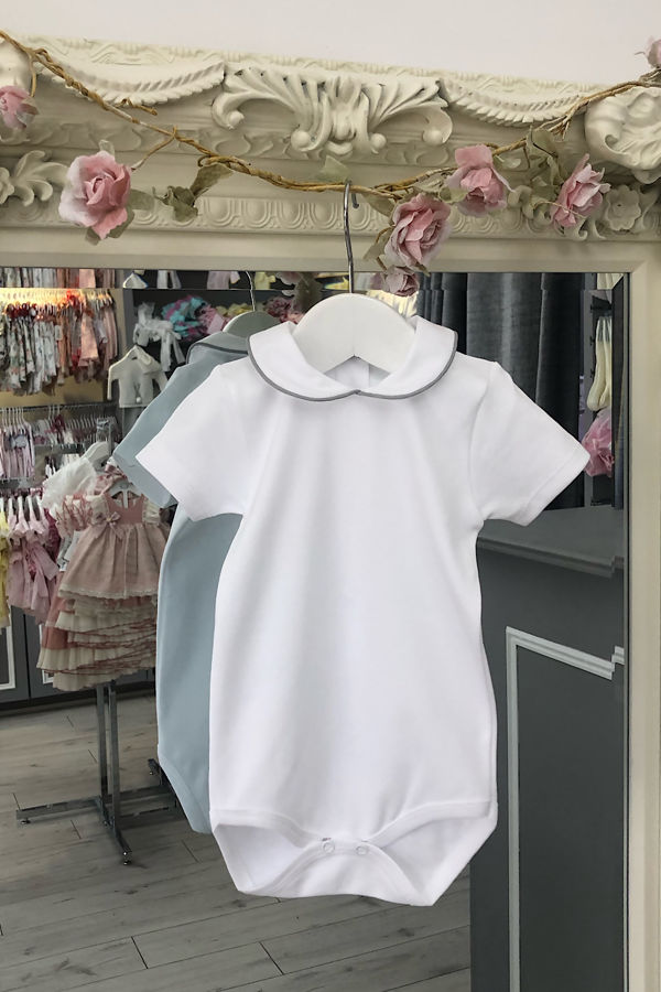 Cannes grey trim short sleeve frill collar vest