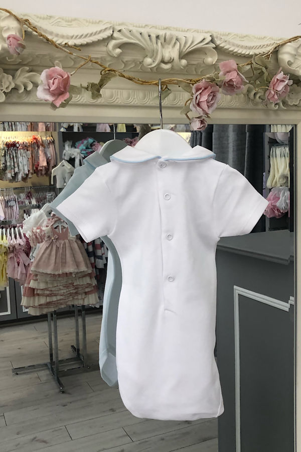 Cannes blue trim short sleeve frill collar vest