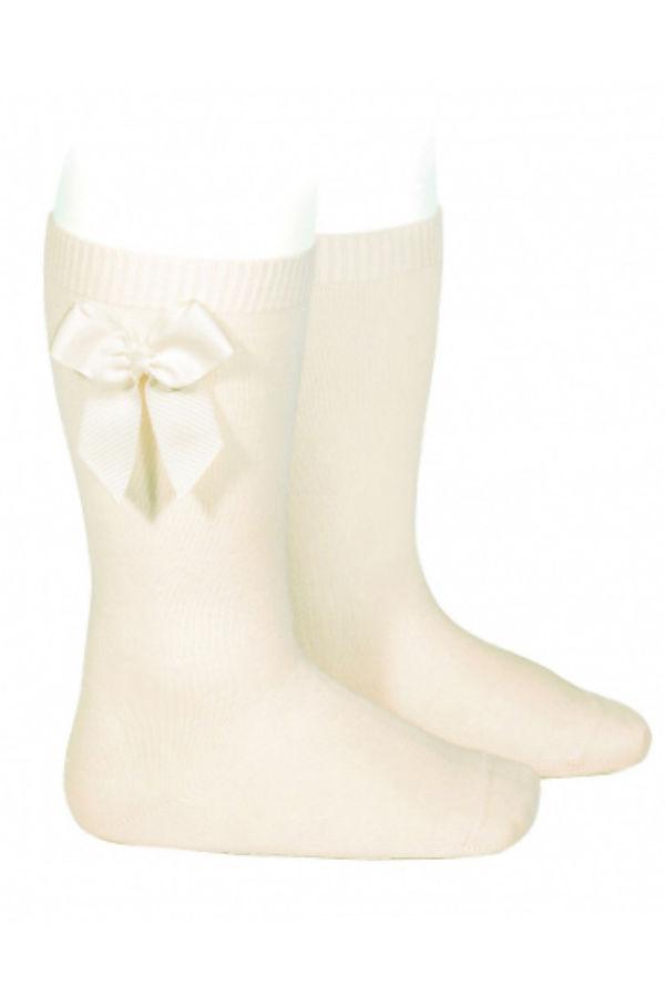 Condor cream bow knee-high socks